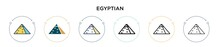 Egyptian Icon In Filled, Thin Line, Outline And Stroke Style. Vector Illustration Of Two Colored And Black Egyptian Vector Icons Designs Can Be Used For Mobile, Ui, Web
