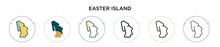 Easter Island Icon In Filled, Thin Line, Outline And Stroke Style. Vector Illustration Of Two Colored And Black Easter Island Vector Icons Designs Can Be Used For Mobile, Ui, Web