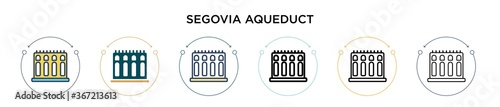 Fototapeta Segovia aqueduct icon in filled, thin line, outline and stroke style