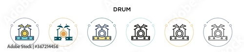 Drum icon in filled, thin line, outline and stroke style Fototapet