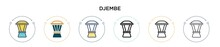 Djembe Icon In Filled, Thin Line, Outline And Stroke Style. Vector Illustration Of Two Colored And Black Djembe Vector Icons Designs Can Be Used For Mobile, Ui, Web