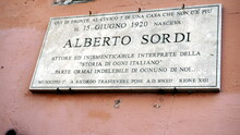 Rome, Italy - February 23, 2020: Commemorative Plaque In The Street Where The Actor ALBERTO SORDI Was Born In Rome. Among The Most Important Actors Of Italian Cinema With About 200 Films