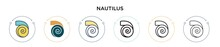 Nautilus Icon In Filled, Thin Line, Outline And Stroke Style. Vector Illustration Of Two Colored And Black Nautilus Vector Icons Designs Can Be Used For Mobile, Ui, Web