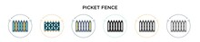 Picket Fence Icon In Filled, Thin Line, Outline And Stroke Style. Vector Illustration Of Two Colored And Black Picket Fence Vector Icons Designs Can Be Used For Mobile, Ui, Web