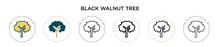 Black Walnut Tree Icon In Fill...