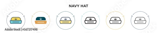 Navy hat icon in filled, thin line, outline and stroke style Fotobehang