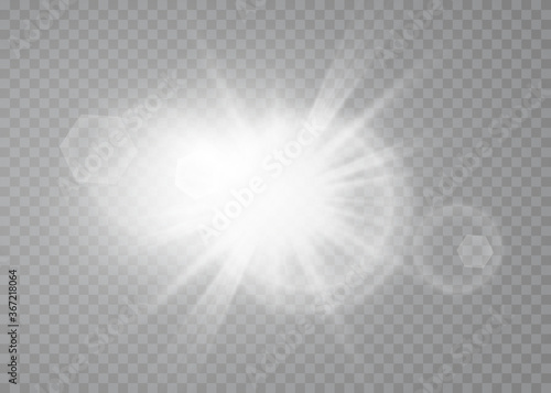 Obraz White glowing light burst explosion with transparent. Cool effect decoration with ray sparkles. Transparent shine gradient glitter - fototapety do salonu