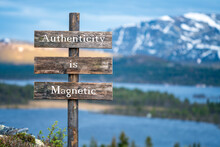 Authenticity Is Magnetic Text On Wooden Signpost Outdoors In Landscape Scenery During Blue Hour. Sunset Light, Lake And Snow Capped Mountains In The Back.