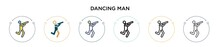 Dancing Man Icon In Filled, Th...