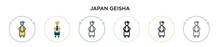 Japan Geisha Icon In Filled, T...