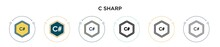 C Sharp Icon In Filled, Thin Line, Outline And Stroke Style. Vector Illustration Of Two Colored And Black C Sharp Vector Icons Designs Can Be Used For Mobile, Ui, Web