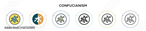 Fotografie, Tablou Confucianism icon in filled, thin line, outline and stroke style