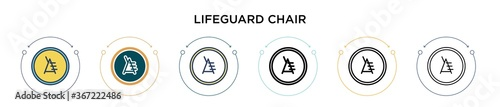 Fotografie, Obraz Lifeguard chair icon in filled, thin line, outline and stroke style
