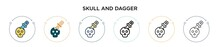 Skull And Dagger Icon In Filled, Thin Line, Outline And Stroke Style. Vector Illustration Of Two Colored And Black Skull And Dagger Vector Icons Designs Can Be Used For Mobile, Ui, Web