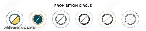 Photo Prohibition circle icon in filled, thin line, outline and stroke style