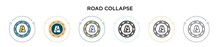 Road Collapse Icon In Filled, ...