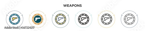 Photo Weapons icon in filled, thin line, outline and stroke style
