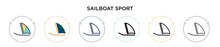 Sailboat Sport Icon In Filled, Thin Line, Outline And Stroke Style. Vector Illustration Of Two Colored And Black Sailboat Sport Vector Icons Designs Can Be Used For Mobile, Ui, Web