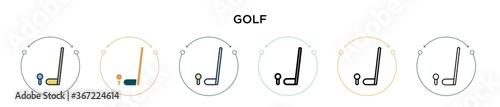 Fotografie, Obraz Golf icon in filled, thin line, outline and stroke style