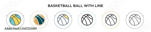 Papel de parede Basketball ball with line icon in filled, thin line, outline and stroke style