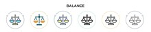 Balance Icon In Filled, Thin L...