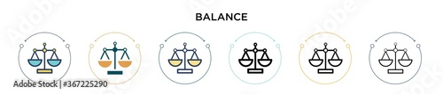 Balance icon in filled, thin line, outline and stroke style Fototapeta