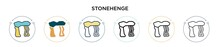 Stonehenge Icon In Filled, Thin Line, Outline And Stroke Style. Vector Illustration Of Two Colored And Black Stonehenge Vector Icons Designs Can Be Used For Mobile, Ui, Web