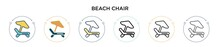 Beach Chair Icon In Filled, Th...