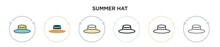 Summer Hat Icon In Filled, Thin Line, Outline And Stroke Style. Vector Illustration Of Two Colored And Black Summer Hat Vector Icons Designs Can Be Used For Mobile, Ui, Web