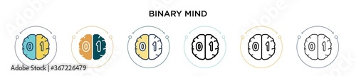 Fotografie, Obraz Binary mind icon in filled, thin line, outline and stroke style