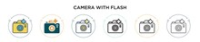 Camera With Flash Icon In Filled, Thin Line, Outline And Stroke Style. Vector Illustration Of Two Colored And Black Camera With Flash Vector Icons Designs Can Be Used For Mobile, Ui, Web