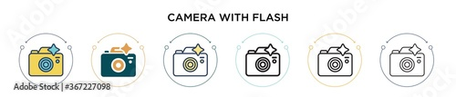 Obraz Camera with flash icon in filled, thin line, outline and stroke style. Vector illustration of two colored and black camera with flash vector icons designs can be used for mobile, ui, web - fototapety do salonu