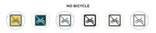 No Bicycle Icon In Filled, Thi...
