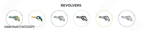 Fotomural Revolvers icon in filled, thin line, outline and stroke style
