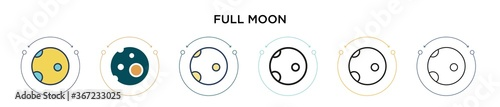 Fotografie, Obraz Full moon icon in filled, thin line, outline and stroke style