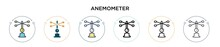 Anemometer Icon In Filled, Thin Line, Outline And Stroke Style. Vector Illustration Of Two Colored And Black Anemometer Vector Icons Designs Can Be Used For Mobile, Ui, Web