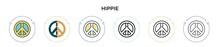 Hippie Icon In Filled, Thin Li...
