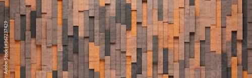 Orange Vertical Rectangles 3D Pattern Background Wallpaper Mural