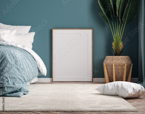 Mockup frame in dark green bedroom interior background, 3d render - 367238426