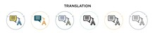 Translation Icon In Filled, Th...