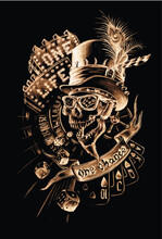 Skull In Hat Vector Hand Drawn Composition, One Life One Chance, Casino, Roulette, Cards, Gold On Black, Gambling And Luck