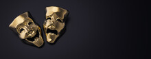 Golden Theater Masks Of Drama ...