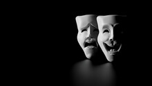 High Contrast Image Of Theater Masks Of Drama And Comedy On A Black Background (3D Rendering, Illustration)