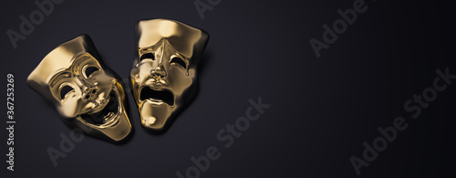 Obraz Golden theater masks of drama and comedy on a dark background (3D Rendering, illustration) - fototapety do salonu