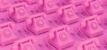 3D Rendering, Illustration Of Vintage Pink Rotary Telephones.