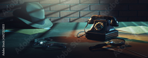 3D rendering of a detective desk / high contrast image Canvas Print