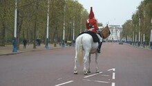 A Royal Horseguard On The Main Street Leading To The Buckingham Palace.