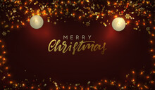 Merry Christmas And Happy New Year. Festive Background With Bright Glittering Light Garlands, Gold Tinsel, Golden Confetti, Realistic Decorative Candles Are Lit. Vector Illustration