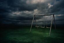 Old Abandoned Swing Set. ( 3D Rendering, Illustration )