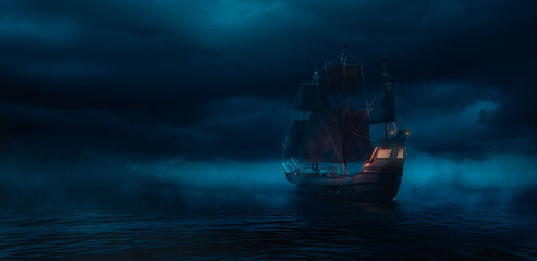 ( 3D illustration, Rendering ) VIntage black pirate ship sailing on caribbean waters at night.